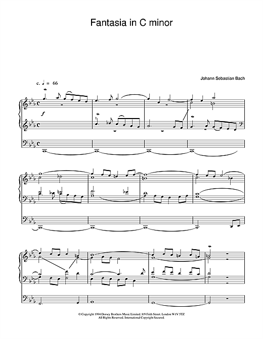 J.S. Bach Fantasia and Fugue in C Minor, BWV 537 sheet music notes and chords. Download Printable PDF.