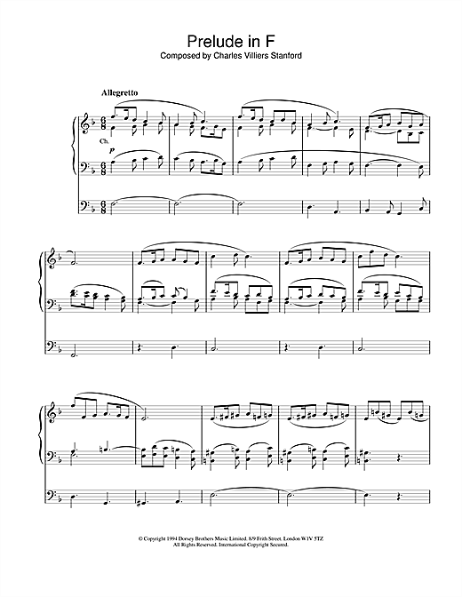 Charles Villiers Stanford Prelude in F sheet music notes and chords. Download Printable PDF.