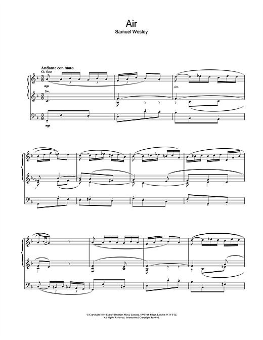 Samuel Wesley Air sheet music notes and chords. Download Printable PDF.