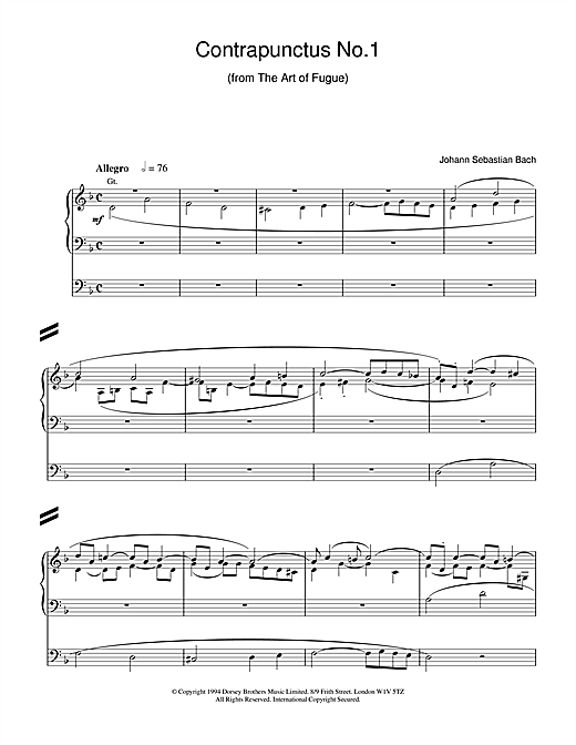 J.S. Bach Contrapunctus No.1 from The Art of Fugue sheet music notes and chords. Download Printable PDF.