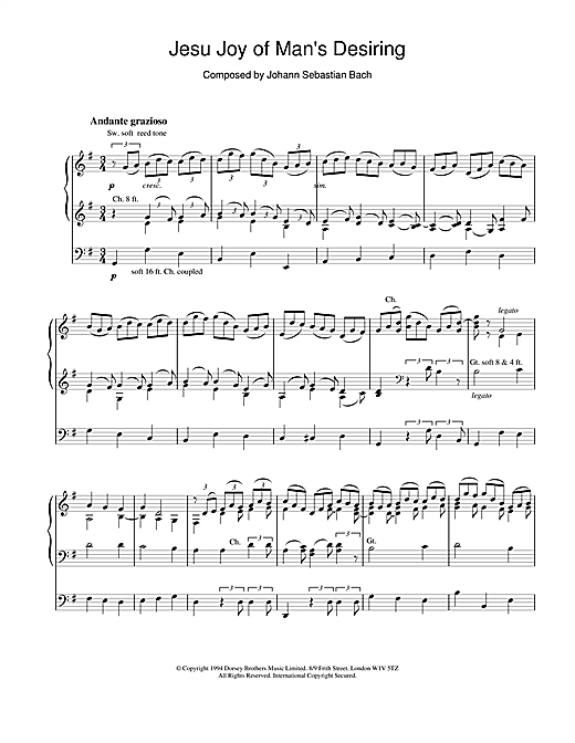 J.S. Bach Jesu, Joy Of Man's Desiring (from Cantata 147) sheet music notes and chords. Download Printable PDF.