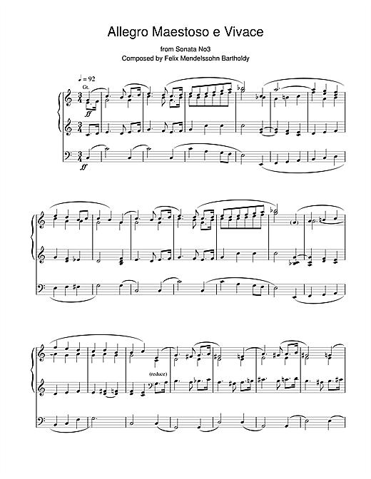 Felix Mendelssohn Allegro Maestoso E Vivace From Sonata No.3 sheet music notes and chords. Download Printable PDF.