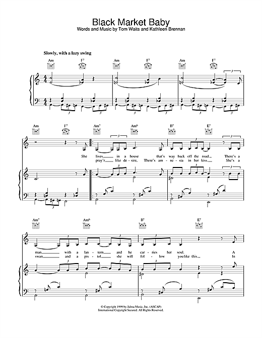 Tom Waits Black Market Baby sheet music notes and chords. Download Printable PDF.