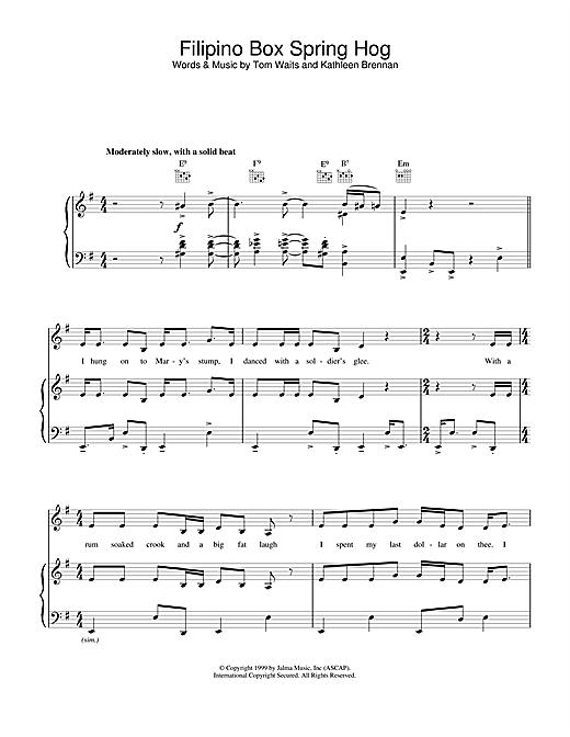 Tom Waits Filipino Box Spring Hog sheet music notes and chords. Download Printable PDF.