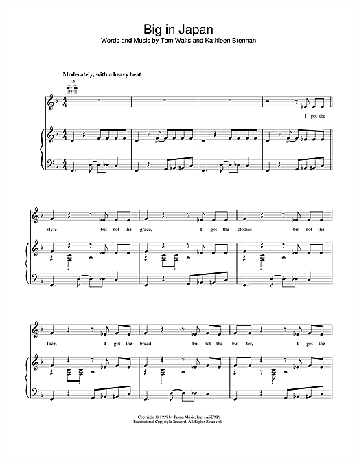 Tom Waits Big in Japan sheet music notes and chords. Download Printable PDF.