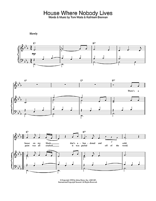 Tom Waits House Where Nobody Lives sheet music notes and chords. Download Printable PDF.