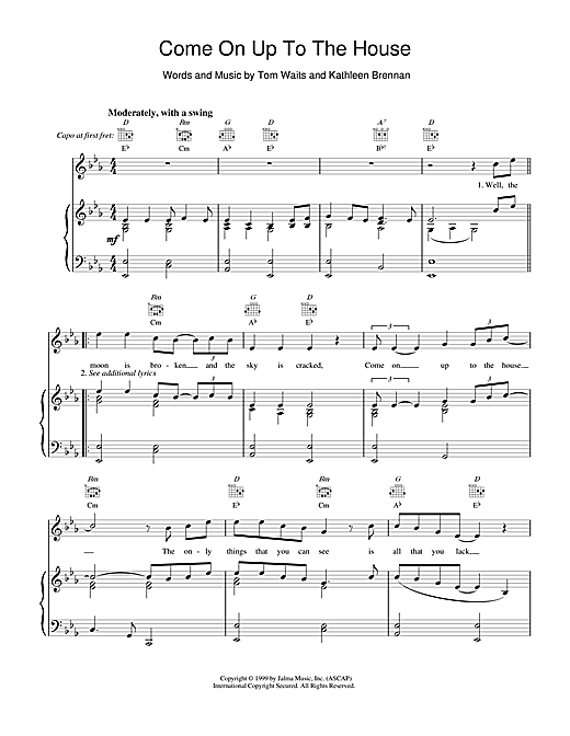 Tom Waits Come On up to the House sheet music notes and chords. Download Printable PDF.