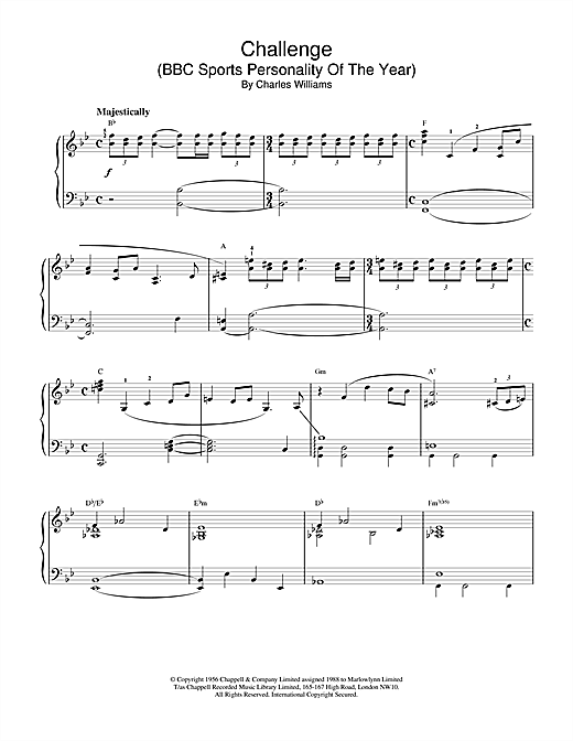 Download or print Charles Williams Challenge (BBC Sports Personality Of The Year) Sheet Music Printable PDF -page score for Film and TV / arranged Piano SKU: 18575.