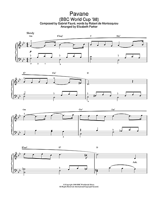 Gabriel Fauré Pavane sheet music notes and chords. Download Printable PDF.