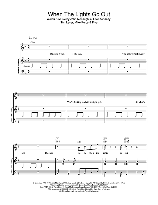 Five When The Lights Go Out sheet music notes and chords. Download Printable PDF.