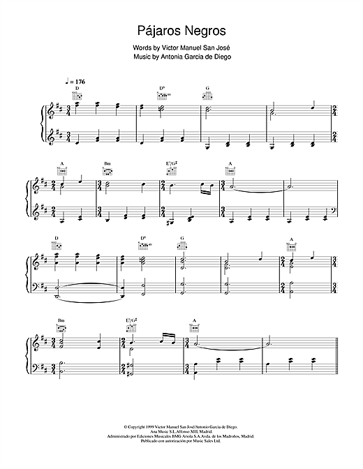 Victor  Manuel San José Pájaros Negros sheet music notes and chords. Download Printable PDF.