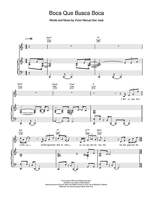 Victor Manuel San José Boca Que Busca Boca sheet music notes and chords. Download Printable PDF.
