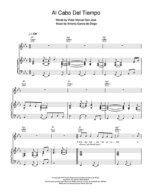Victor Manuel San José Al Cabo Del Tiempo sheet music notes and chords. Download Printable PDF.