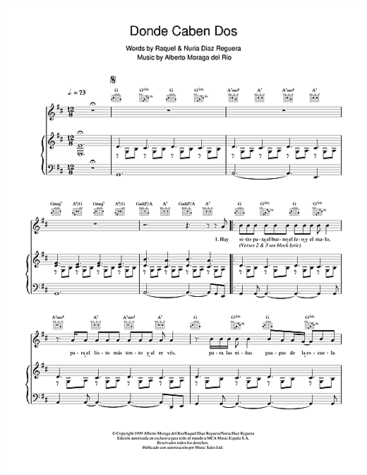 Victor Manuel San José Donde Caben Dos sheet music notes and chords. Download Printable PDF.
