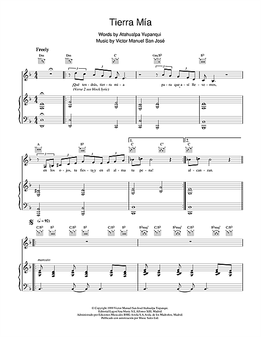 Victor Manuel San José Tierra Mía sheet music notes and chords. Download Printable PDF.
