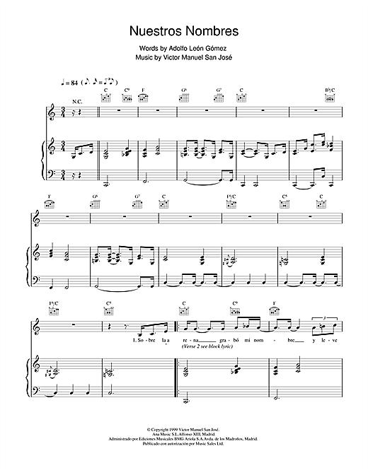 Victor Manuel San José Nuestros Nombres sheet music notes and chords. Download Printable PDF.