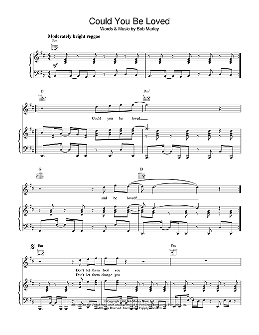 Bob Marley Could You Be Loved sheet music notes and chords. Download Printable PDF.