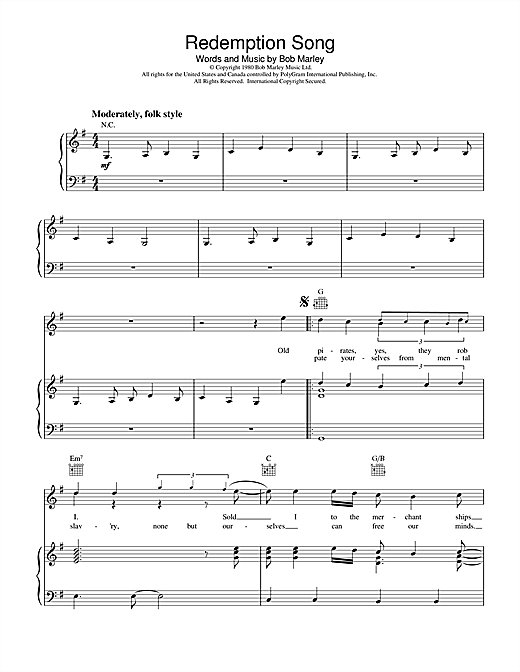 Bob Marley Redemption Song sheet music notes and chords. Download Printable PDF.