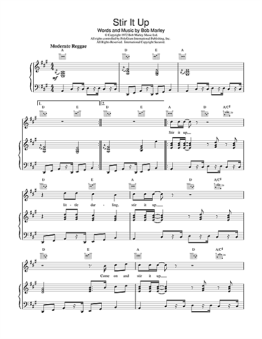 Bob Marley Stir It Up sheet music notes and chords. Download Printable PDF.