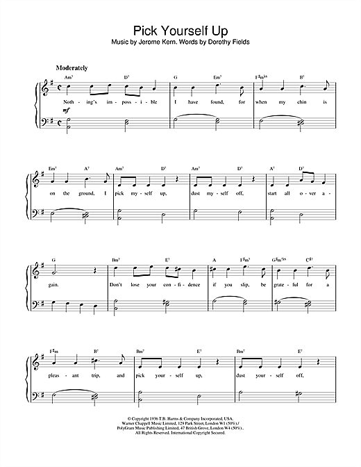 Jerome Kern & Dorothy Fields Pick Yourself Up sheet music notes and chords. Download Printable PDF.
