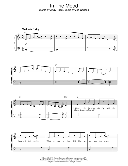 Glenn Miller In The Mood sheet music notes and chords. Download Printable PDF.