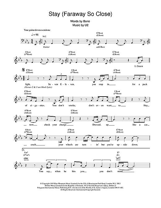U2 Stay (Faraway, So Close!) sheet music notes and chords. Download Printable PDF.