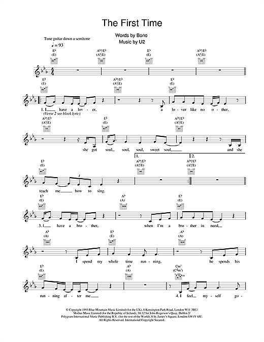 U2 The First Time sheet music notes and chords. Download Printable PDF.