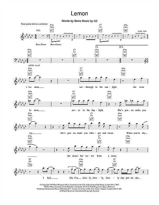 U2 Lemon sheet music notes and chords. Download Printable PDF.