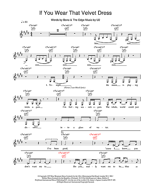 U2 If You Wear That Velvet Dress sheet music notes and chords. Download Printable PDF.