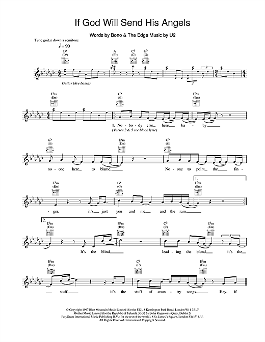 U2 If God Will Send His Angels sheet music notes and chords. Download Printable PDF.