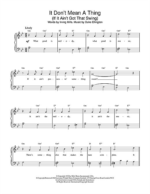 Duke Ellington It Don't Mean A Thing (If It Ain't Got That Swing) sheet music notes and chords. Download Printable PDF.