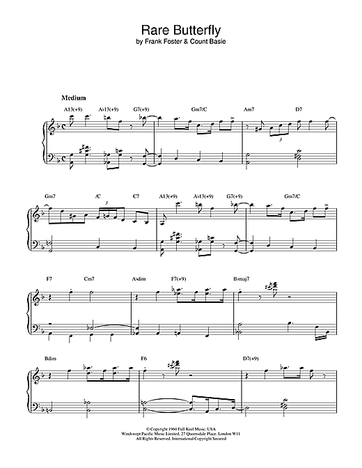 Count Basie Rare Butterfly sheet music notes and chords. Download Printable PDF.