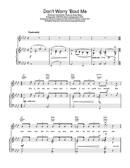 Rube Bloom Don't Worry 'Bout Me sheet music notes and chords. Download Printable PDF.