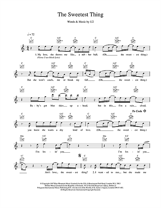 U2 The Sweetest Thing sheet music notes and chords. Download Printable PDF.