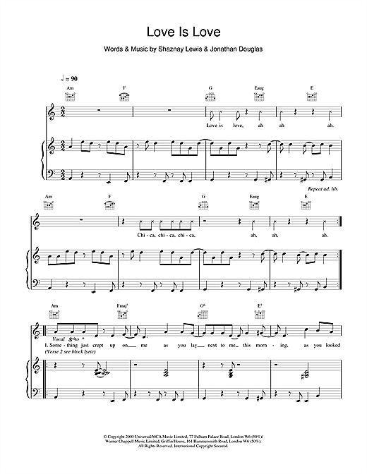 All Saints Love Is Love sheet music notes and chords. Download Printable PDF.