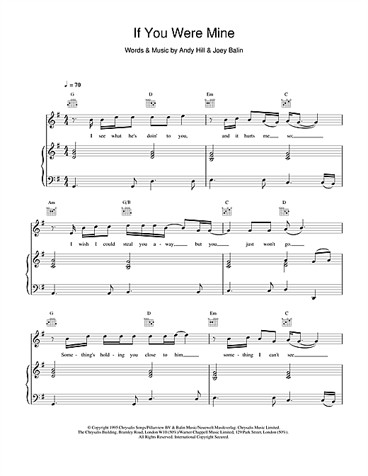Boyzone If You Were Mine sheet music notes and chords. Download Printable PDF.