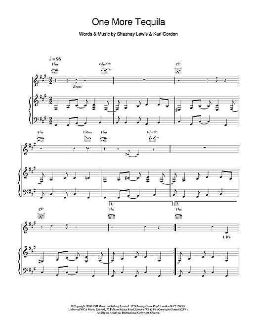 All Saints One More Tequila sheet music notes and chords. Download Printable PDF.