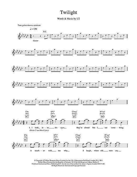 U2 Twilight sheet music notes and chords. Download Printable PDF.