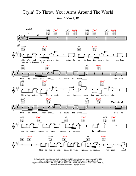 U2 Tryin' To Throw Your Arms Around The World sheet music notes and chords. Download Printable PDF.