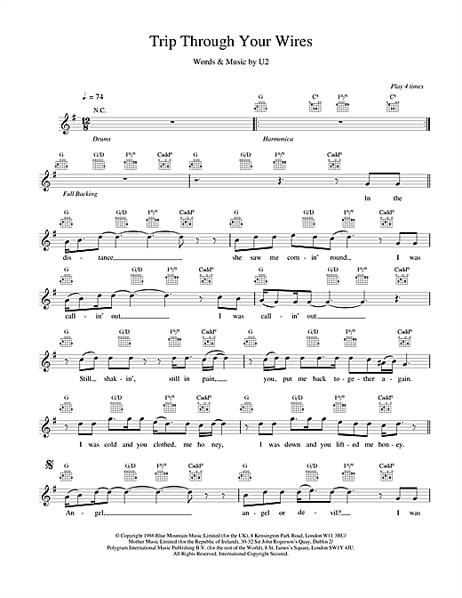 U2 Trip Through Your Wires sheet music notes and chords. Download Printable PDF.