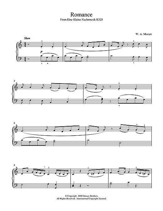 Wolfgang Amadeus Mozart Romance From Eine Kleine Nachtmusik K525 sheet music notes and chords. Download Printable PDF.