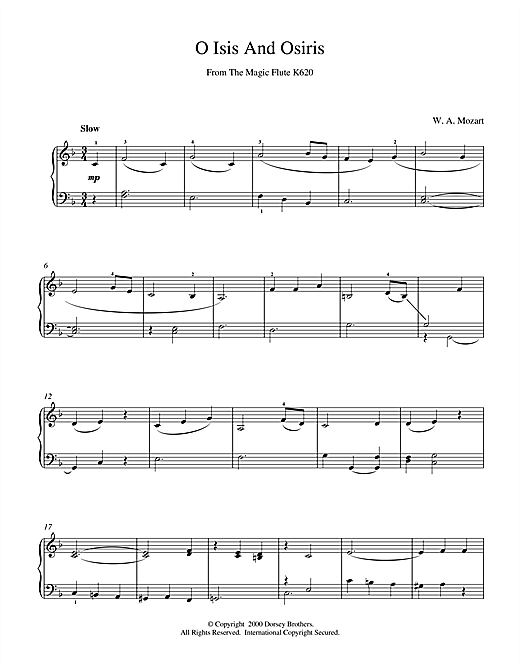 Wolfgang Amadeus Mozart O Isis And Osiris From The Magic Flute K620 sheet music notes and chords. Download Printable PDF.