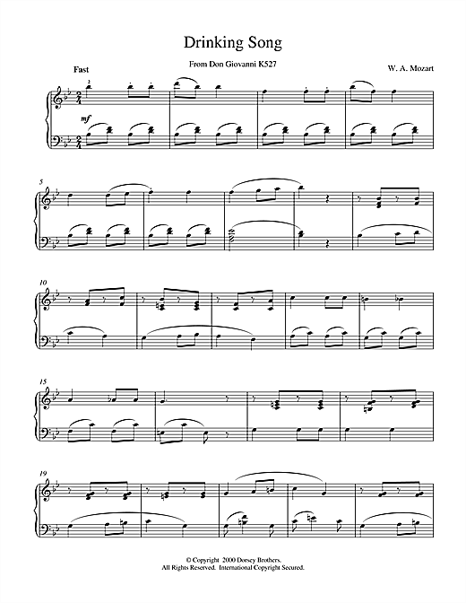 Wolfgang Amadeus Mozart Drinking Song From Don Giovanni K527 sheet music notes and chords. Download Printable PDF.