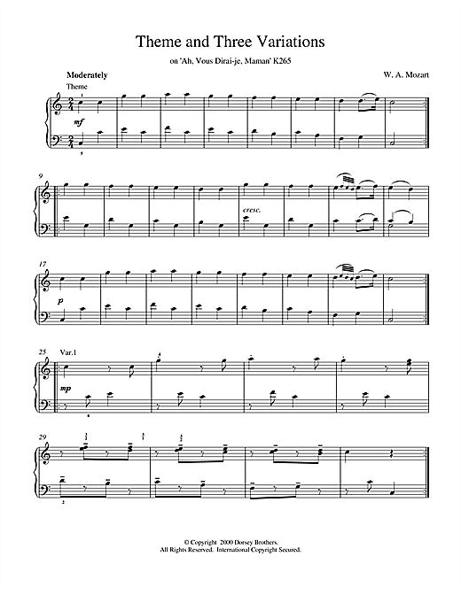 Wolfgang Amadeus Mozart Theme and Three Variations on 'Ah, Vous Dirai-je, Maman' K265 sheet music notes and chords. Download Printable PDF.