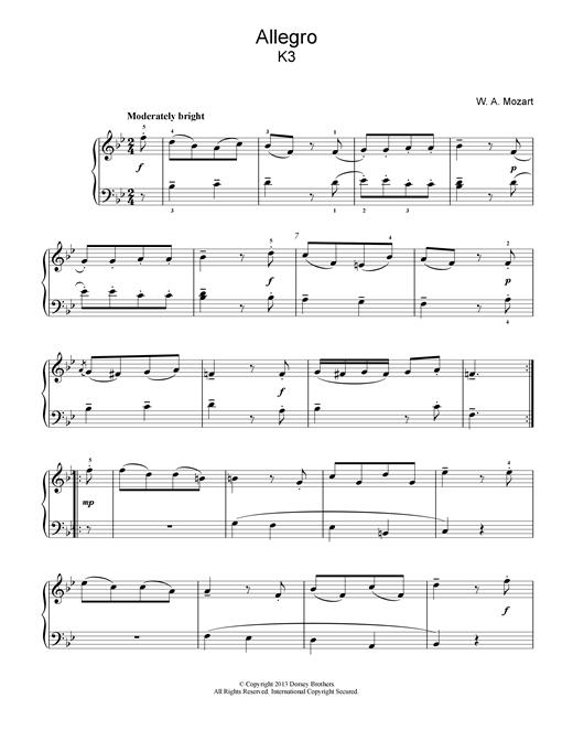 Wolfgang Amadeus Mozart Allegro K3 sheet music notes and chords. Download Printable PDF.