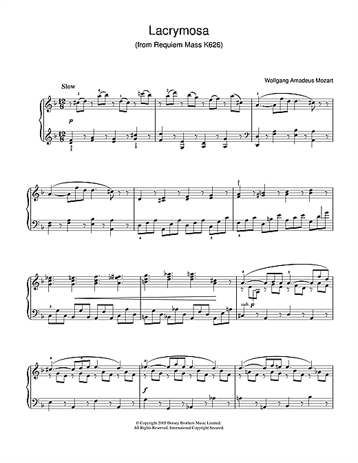 Wolfgang Amadeus Mozart Lacrymosa from Requiem Mass sheet music notes and chords. Download Printable PDF.