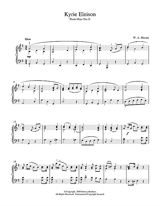 Wolfgang Amadeus Mozart Kyrie Eleison From Mass No.12 sheet music notes and chords. Download Printable PDF.