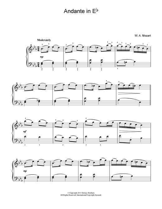 Wolfgang Amadeus Mozart Andante in E Flat sheet music notes and chords. Download Printable PDF.