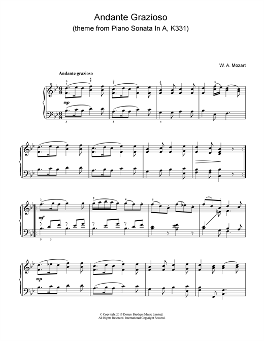 Wolfgang Amadeus Mozart Andante Grazioso (theme from Piano Sonata In A, K331) sheet music notes and chords. Download Printable PDF.