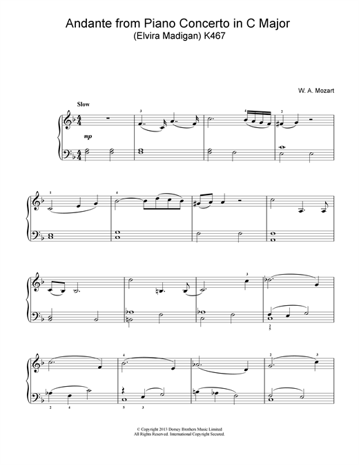Wolfgang Amadeus Mozart Andante Theme K467 sheet music notes and chords. Download Printable PDF.